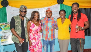Qraig (Voicemail), June Isaacs (Gregory Isaacs Foundation), Kevyn V (Voicemail), Talisa Taylor (Taylor Made Events and PR Management), and D'Medz at the launch of Culture Shock