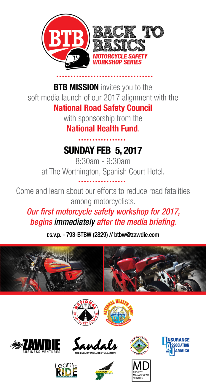Jamaica, NRSCJAmaica, National Road Safety Council, Blog, LAunch, 13thStreetPRomotions, Back To Basics Motorcycle Safety Workshop Series,