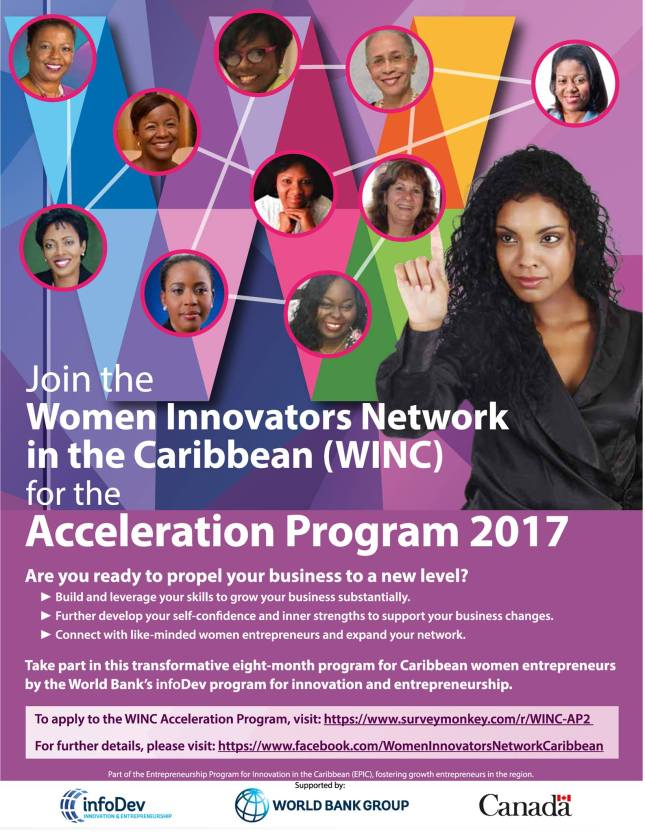 Jamaica, Entrepreneurship, PR, Press Release, WINC, Women Innovators Network, Blog, 13thStreetPromotions, WINC Acceleration Program 2017, CGR Jamaica, Women Entrepreneurs, Caribbean,