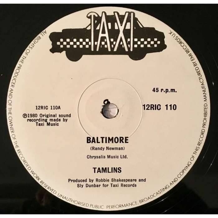 The Tamlins Baltimore Randy Newman Nina Simone Reggae Music Blog 13thStreetPromotions 13thStreetPromo Oldies Sunday Old School 1979 1980 Sly & Robbie Taxi Records Cover Song Caribbean Retro Oldies